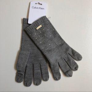 Calvin Klein Gloves Winter Sparkle Beaded Grey
